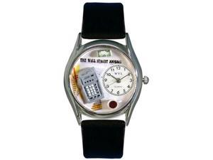 Accountant Black Leather And Silvertone Watch #S0620003