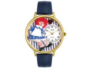 Raggedy Ann Navy Blue Leather And Goldtone Watch #G0220003