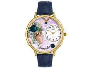 Birthstone: December Navy Blue Leather And Goldtone Watch #G0910012