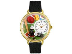 Softball Black Skin Leather And Goldtone Watch #G0820022