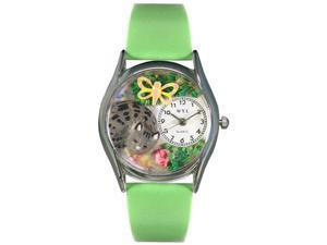 Cat Nap Green Leather And Silvertone Watch #S0120010