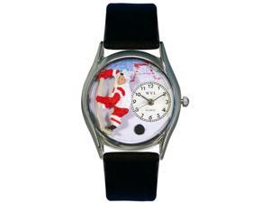 Hockey Black Leather And Silvertone Watch #S0820002