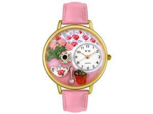 Tea Roses Pink Leather And Goldtone Watch #G1210011
