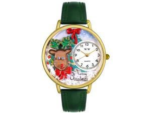 Christmas Reindeer Hunter Green Leather And Goldtone Watch #G1220012