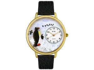 Penguin Black Skin Leather And Goldtone Watch #G0140006