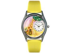 Giraffe Yellow Leather And Silvertone Watch #S0150004
