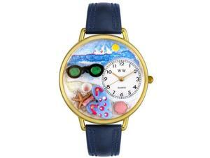 Flip-flops Navy Blue Leather And Goldtone Watch #G1210015