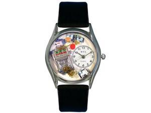 Casino Black Leather And Silvertone Watch #S0420002