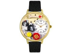 Shih-Tzu Black Skin Leather And Goldtone Watch #G0130069