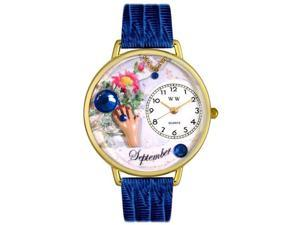 Birthstone: September Royal Blue Leather And Goldtone Watch #G0910009