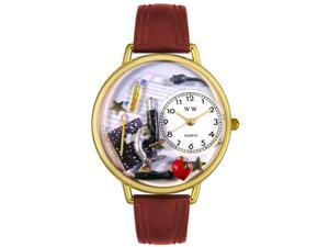 Science Teacher Burgundy Leather And Goldtone Watch #G0640004