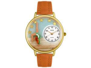 Gymnastics Tan Leather And Goldtone Watch #G0810014