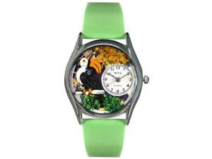 Toucan Green Leather And Silvertone Watch #S0150006