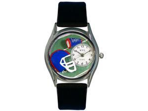 Football Black Leather And Silvertone Watch #S0820009