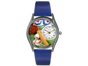 Baseball Royal Blue Leather And Silvertone Watch #S0820004