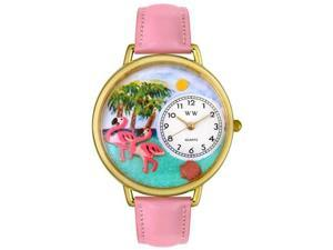 Flamingo Pink Leather And Goldtone Watch #G0150001
