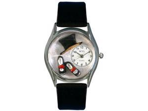 Tap Dancing Black Leather And Silvertone Watch #S0510009