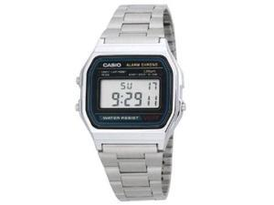 Casio Men's Alarm Chrono A158WA-1 Silver Stainless-Steel Quartz Watch with Grey Dial