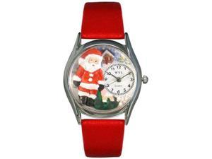 Christmas Santa Claus Red Leather And Silvertone Watch #S1221001