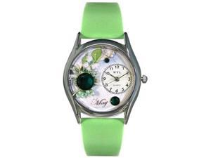 Birthstone: May Green Leather And Silvertone Watch #S0910005