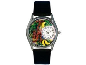 Monkey Black Leather And Silvertone Watch #S0150007