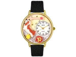 Basset Hound Black Skin Leather And Goldtone Watch #G0130078