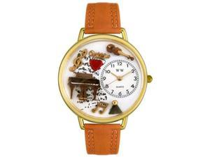 Music Piano Tan Leather And Goldtone Watch #G0510007