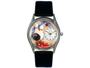 Bowling Black Leather And Silvertone Watch #S0820017