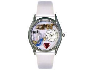 LPN White Leather And Silvertone Watch #S0610012