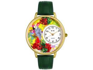 African Gray Parrot Hunter Green Leather And Goldtone Watch #G0150013