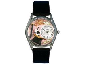 Magic Black Leather And Silvertone Watch #S0420009