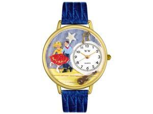 Square Dancing Royal Blue Leather And Goldtone Watch #G0510006
