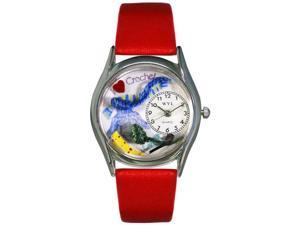 Crochet Red Leather And Silvertone Watch #S0440005