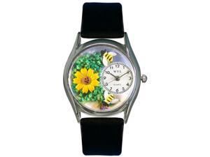 Sunflower Black Leather And Silvertone Watch #S1211002