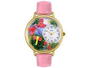 Dragonflies Pink Leather And Goldtone Watch #G1210007