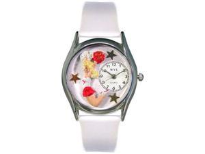 Cheerleader White Leather And Silvertone Watch #S0820013