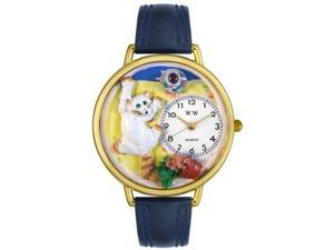 Bad Cat Navy Blue Leather And Goldtone Watch #G0120003