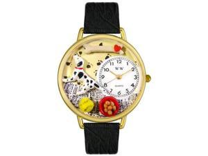 Dalmatian Black Skin Leather And Goldtone Watch #G0130031