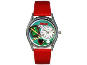 Billiards Red Leather And Silvertone Watch #S0430007