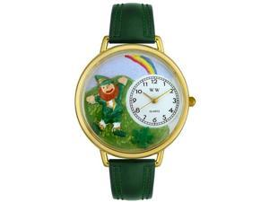 St. Patrick's Day Rainbow Hunter Green Leather And Goldtone Watch #G1224002