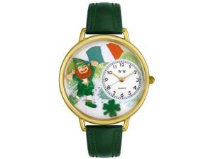 St. Patrick's Day w/Irish Flag Hunter Green Leather And Goldtone Watch #G1224001