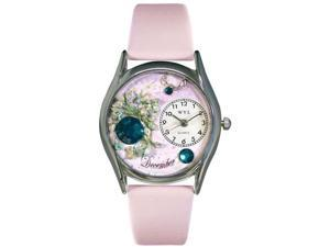Birthstone: December Pink Leather And Silvertone Watch #S0910012