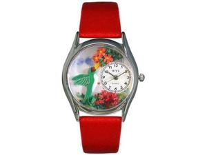 Hummingbirds Red Leather And Silvertone Watch #S1210003