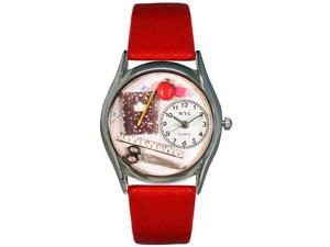 Teacher Red Leather And Silvertone Watch #S0640002