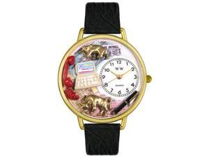 Stock Broker Black Skin Leather And Goldtone Watch #G0610003