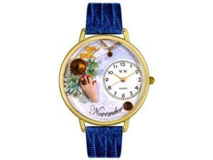 Birthstone: November Royal Blue Leather And Goldtone Watch #G0910011