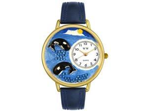 Whales Navy Blue Leather And Goldtone Watch #G0140005