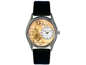 Lord's Prayer Black Leather And Silvertone Watch #S0710010