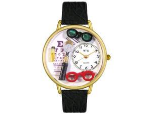Opthamologist Black Skin Leather And Goldtone Watch #G0620003