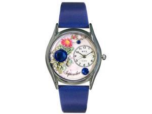 Birthstone: September Royal Blue Leather And Silvertone Watch #S0910009